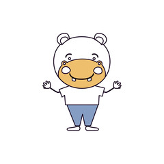 silhouette color sections caricature of cute hippo happiness expression with hands up with clothes vector illustration