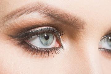 makeup shadows on eyes of girl