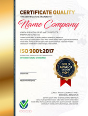 Vector certificate quality or diploma template with luxury line pattern and gold award emblem, ISO 9001 certified, Vector illustration