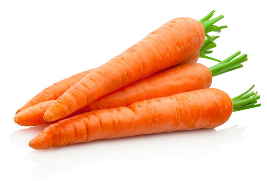 Fresh carrots isolated on a white background