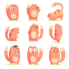 Cute red cartoon cat character with different emotions set of vector Illustrations