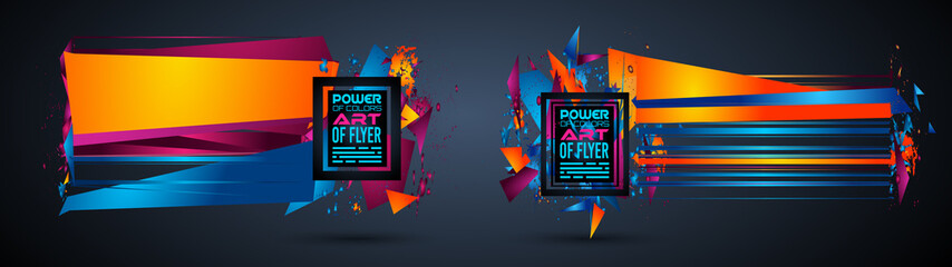 Futuristic Frame Art Design with Abstract shapes and drops of colors behind