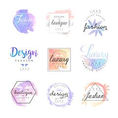 Fashion luxury boutique logo design set, colorful vector Illustrations