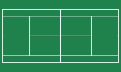 Flat green big tennis field, Top view of tennis court with line template. Vector stadium.