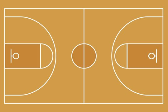 Flat Basketball field. Top view of Basketball court with line template. Vector stadium.