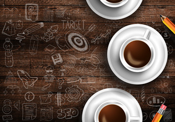 Infograph background template with a fresh coffee on real wooden table