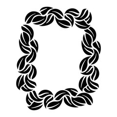 decorative frame with leaves around icon over white background vector illustration