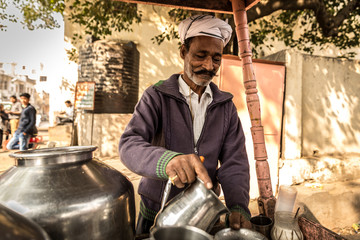 Muslim Indian preparing Masala Tea in Jaipur