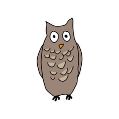 Cute awkward grey owl vector illustration