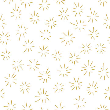 Hand drawn stylized starburst background in gold. Seamless vector pattern
