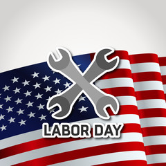 Happy Labor Day. 7th September. Labor Tools showing Labor Day. Waving American Flag on a White Background