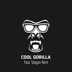 Monkey with sunglasses mascot. Cool Gorilla Logo