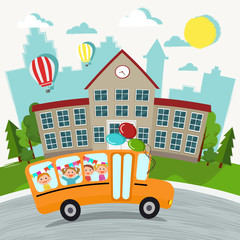 Welcome back to school vector illustration. School and school bus with kids.