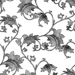 Background with ornament. Vintage pattern flower branches. Seamless pattern.