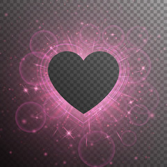 Glitzy background with light effect. Brilliant frame with a bright pink heart. Romantic vectorial design on a transparent backdrop.