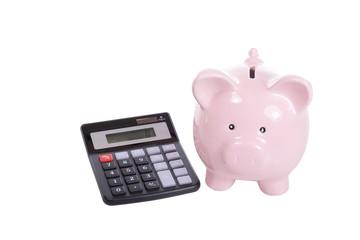Ceramic pink piggy bank and calculator