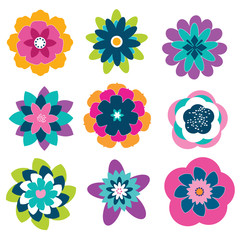 Set of 9 colorful abstract flowers