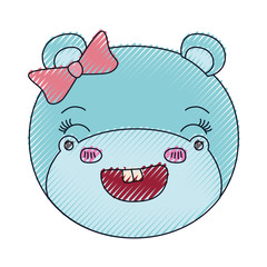 color crayon silhouette face of female hippo animal adorable expression smiling vector illustration