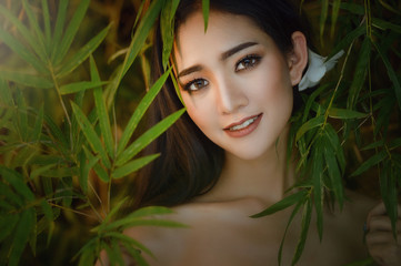 Beautiful Young Woman with Clean Fresh Skin, Facial treatment, beauty and spa ,Beauty smiling model with natural make up and long eyelashes,Youth and skin care concept, Spa and wellness, Make up