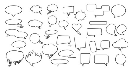 Speech bubbles set. Pack with many thinking and speech bubbles for your art, infographics, sale badges, notifications and other designs