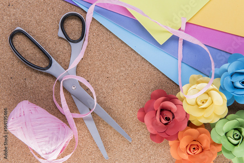 Colourful Paper Craft Background With Paper Scissors And Paper