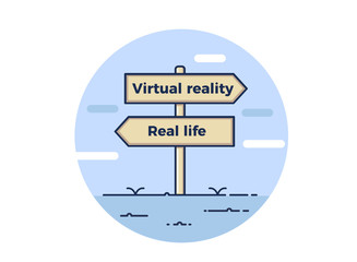 Sign post point towards two opposite directions between virtual reality and real life. Vector concept illustration