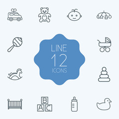 Set Of 12 Child Outline Icons Set.Collection Of Toys, Pyramid, Bottle And Other Elements.