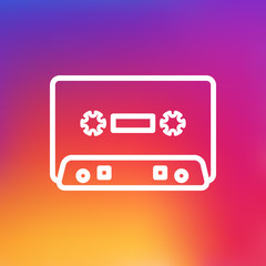 Isolated Cassette Outline Symbol On Clean Background. Vector Record  Element In Trendy Style.