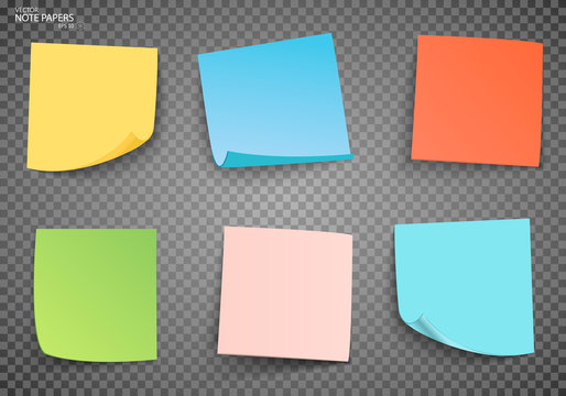 Set of color sheets of note papers. Vector illustration