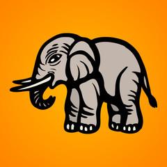 Elephant. Flat Image. Isolated object. Vector illustrations
