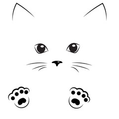 vector black outline drawing cat face with paws