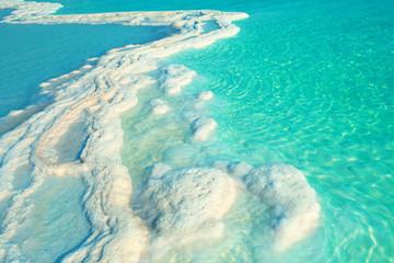 Fototapete - Texture of Dead sea. Salt sea shore