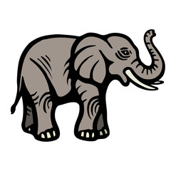Elephant. Flat Image. Isolated object. White background. Vector illustrations