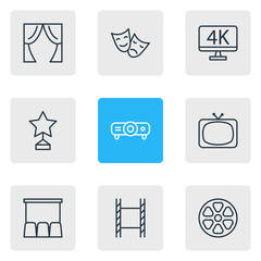 Vector Illustration Of 9 Film Icons. Editable Pack Of Filmstrip, Movie Reel, Theater And Other Elements.