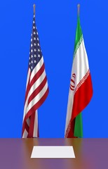 3d illustration of USA and Iran flags at ceremonial meeting