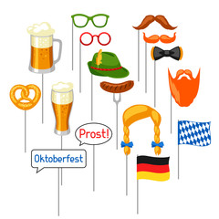 Set of Oktoberfest photo booth props. Accessories for festival and party
