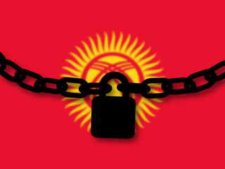 Kyrgyzstan security. Silhouette of a chain and padlock over national flag
