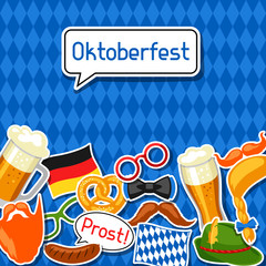 Oktoberfest card with photo booth stickers. Design for festival and party