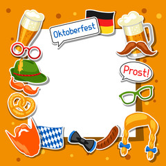 Oktoberfest frame with photo booth stickers. Design for festival and party