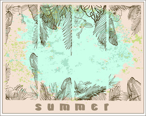 Vector Template. Tropical Background. Palm Leaves And Flowers.