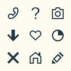 Vector Illustration Of 9 Interface Icons. Editable Pack Of Mainpage, Wrong, Help And Other Elements.