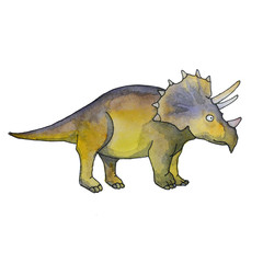Stylized triceratops dinosaur living at the end of the Cretaceous period, isolated on white background. Fossil animals and reptiles in cartoon watercolor style.