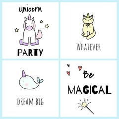 Be magical. Postcards with cute unicorns.