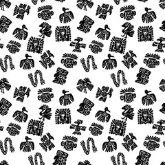 Seamless maya pattern. Black and white ethnic elements.