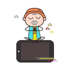 Cartoon Grandpa Doing Meditation Over the Phone Vector Illustration