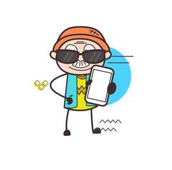 Fashionable Cartoon Grandpa Showing a Smartphone Vector Illustration