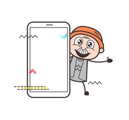 Joyful Cartoon Grandpa with Smartphone Vector Illustration