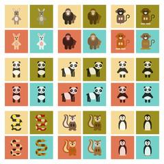 assembly flat icons nature Panda monkey rabbit snake squirrel penguins