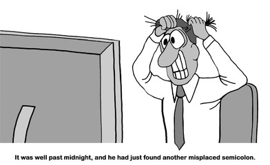 Education cartoon showing a man pulling his hair out as he looks at his computer, another misplaced semicolon