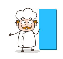 Cartoon Chef with Long Banner Vector Illustration